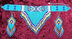 collar necklace with matching earrings Native American Jewellery, Native American Crafts, American Indian Jewelry, Indian Beadwork, Native Beadwork, Native American Beadwork, Seed Bead Necklace, Seed Bead Jewelry, Beaded Jewelry