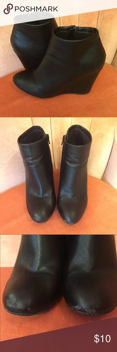 Black Forever 21 Wedge Booties So comfy and so cute! Discounted price due to scuff on toe. Would be easy to cover with polish. These go with everything! Great for fall and winter. Forever 21 Shoes Ankle Boots & Booties