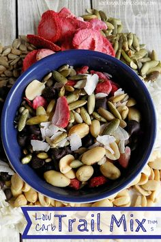 Low-Carb Trail Mix from workingathomeschool.com. Easy, gluten-free, low-carb recipe!