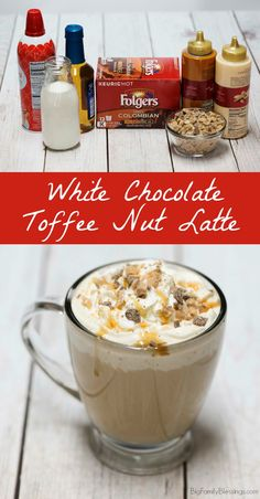 DIY White Chocolate Toffee Nut Latte Recipe. A deliciously decadent coffee recipe perfect for a quick afternoon pick me up! #AlwaysTheBestPart #ad Chocolate Latte Recipe, Chocolate Sauce Recipes, White Chocolate Sauce, Chocolate Toffee, Coffee Creamer Recipe, Frappuccino Recipe, Starbucks Frappuccino, Starbucks Recipes, Coffee Recipes