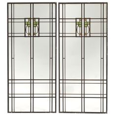 """Prairie School Pair of Leaded Glass Light Screen Window Panels. Clear & Coloured Glass with Lead Came. America. Circa 1900. Each Panel: 41-1/4"""" x 18""""."""