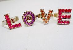 Vtg Rhinestone LOVE Rings Lucite Pink Bracelet 60's I Love You Modern Retro #none #RingsBracelet