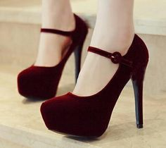 Burgundy Mary Janes Heels