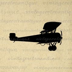 Antique Airplane Silhouette Image Digital Printable Plane Illustration Graphic Download Vintage Clip Art HQ 300dpi No.3286