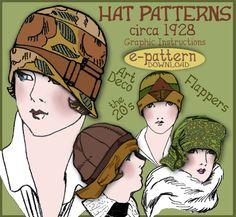 Sew 4 Vintage 1920s Downton Abbey FLAPPER CLOCHE Hat e Patterns (Shirley Set) PDF A. $3.99, via Etsy.