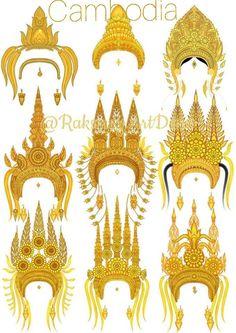 Cambodian Tattoo, Khmer Tattoo, Cambodian Art, Thai Tattoo, Headdress Tattoo, Crown Drawing, Nails Design With Rhinestones, God Pictures, Cambodia