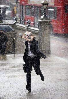 London pedestrian in the rain