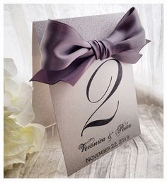 Silver shimmer glitter table number with ribbon  by VPElegance
