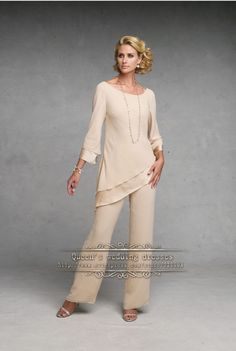 Champagne Simple Chiffon mother of the bride pant suits