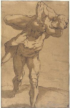Luca Cambiaso – A man carrying another on his shoulders; Black chalk, pen and brown ink, brown wash, 391x253 mm