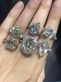 Big engagement ring settings for 4 & 5 carat diamonds Engagement Rings 4 Carat, Engagement Ring Shapes, Engagement Wedding Ring Sets, Engagement Ring Settings, Diamond Wedding Bands, Wedding Rings, 5 Carat Diamond Ring, Large Diamond Rings, Diamond Jewelry