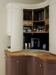 second nature: Create a corner breakfast pantry with dedicated areas for coffee machine, cups, saucers and plates, plus plenty of room for tea, coffee and jams