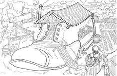 There Was an Old Woman Who Lived in a Shoe coloring page from Mother goose nursery rhymes category. Select from 20946 printable crafts of cartoons, nature, animals, Bible and many more.