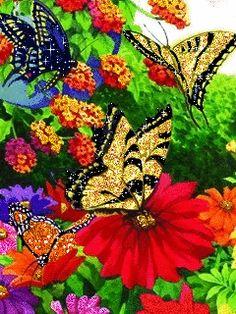AK Cache Pinimg Media butterfly gifs | Gifs de flores y plantas: Flores con animales en movimiento