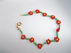 Funky Flower Beaded Bracelet by StreetStitchAndStuff on Etsy, £3.00