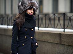 Fox fur hat.