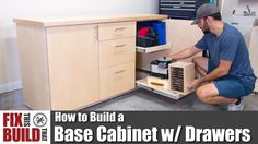 The perfect project to add garage / shop storage, I show you how to build a base cabinet with drawers. This DIY base cabinet will take organization Workshop Cabinets, Building Kitchen Cabinets, Diy Kitchen Cabinets, Base Cabinets, Garage Workshop, Diy Workshop, Utility Cabinets, Garage Cabinets, Diy Drawers