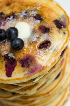 Blueberry buttermilk pancakes-Sugar & Spice by Celeste: Breakfast Food