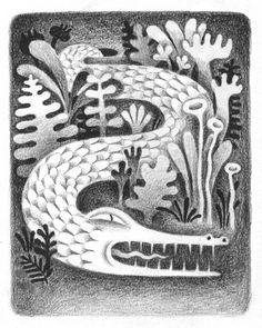 """I suspect this is a a bit like real life - you don't spot the """"croc"""" until it's too late - aaargh :O) Artist: JooHee Yoon, Title """"Garden Creatures"""" Art And Illustration, Illustrations And Posters, Animal Illustrations, Joohee Yoon, You Draw, Black White, Art Inspo, Painting & Drawing, Collages"""