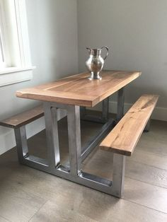 Childs Heirloom Dining Table by TheWhiteShanty on Etsy Industrial Design Furniture, Diy Wood Projects Furniture, Steel Frame Furniture, Metal Furniture Design, Wood Furniture, Iron Furniture, Industrial Furniture, Welded Furniture, Metal Furniture