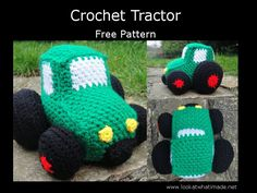 A FREE Original Pattern for a crochet Tractor. Dazzle the little men in your life with this chunky yarn toy. Patterns for Digger and Car also available.