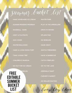 Free editable summer bucket list.