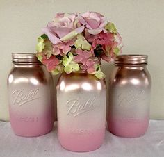 rose gold, antique white, and pink ombre mason jar centerpieces Pink Mason Jars, Mason Jar Gifts, Bottles And Jars, Mason Jar Diy, Glass Jars, Mason Jar Centerpieces, Vases, Shower Centerpieces, Jar Crafts