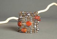 Pearl Carnelian Multi Strand Beaded Bracelet  8 by AmphaiJewelry