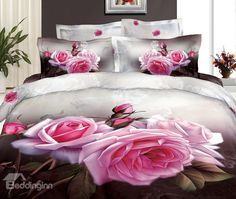 New Arrival Beautiful Rose Flowers with Buds Patterns 4 Piece Bedding Sets  @bedding inn