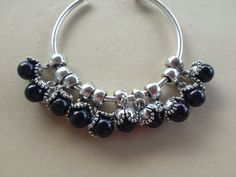 Euro Dangle Flowers with Black Pearls on Etsy, $5.00