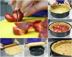 ετοιμάζοντας τις φράουλες και την ζύμη Pies