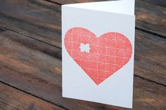 heart puzzle letterpress card