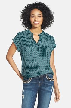 Pleione Split Neck Blouse (Regular & Petite) available at #Nordstrom