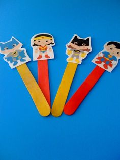 Free Superhero Stick Puppet Printables for play therapy