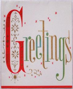 #1828 50s Mid Century Graphcs-Vintage Christmas Card-Greeting