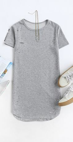 f3df3cce719 Distressed Terry Cloth T-Shirt Dress HEATHER GREY Grey T Shirt Dress