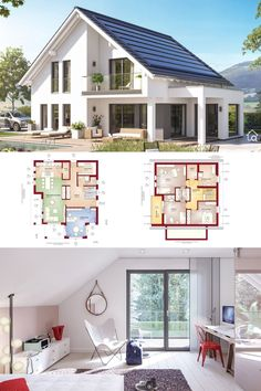 One Family House Architecture & Interior Design Modern Contemporary European Style Floor Plans FANTASTIC 165 - Dream Home Ideas with 2 Story, 4 Bedroom & Open Floor Layout by Bien Zenker - Arquitectura moderna casas planos - HausbauDirekt. Classic House Design, Minimalist House Design, Modern House Design, Bungalow House Plans, Dream House Plans, House Floor Plans, Model House Plan, Modern Architecture Design, House Architecture