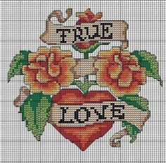 True Love Cross Stitch Chart by Hello Sailor Studio.