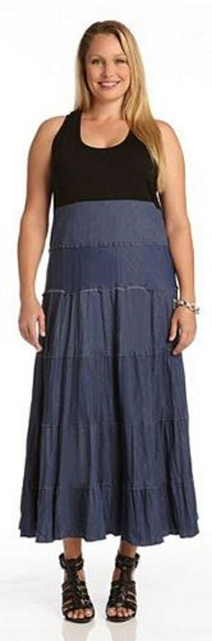 PLUS SIZE TIERED MAXI DRESS This Karen Kane maxi dress will easily become a weekend favorite. It combines classic materials of stretchy jersey and cool cotton denim for all day comfort will maximum style. #Plus_Size #Maxi_Dress #Karen_Kane