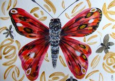 Papillon Peinture Papillon Art Contemporain Original Insecte Aquarelle Papillon Décor : Peintures par celine-artpassion