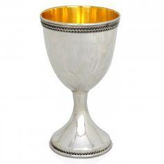 Nadav Art Classic Stemmed Silver Kiddush Cup   Jewish & Israeli Art
