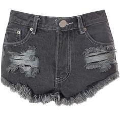 Black Frayed Denim Hotpants (170 BRL) ❤ liked on Polyvore featuring shorts, bottoms, short, black, black short shorts, hot pants, ripped high waisted shorts, high-waisted denim shorts and denim shorts