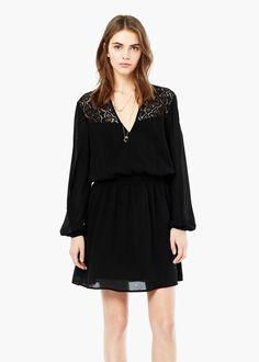 Lace panel dress -  Women   MANGO