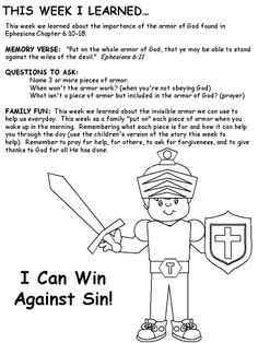 Armor of God  ~sign for VBS kids craft table