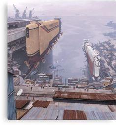 'Magnetskepp, Taigaleden' Poster by Simon Stålenhag Landscape Concept, Fantasy Landscape, Fantasy Art, Space Fantasy, Sci Fi Environment, Environment Design, Futuristic City, Futuristic Architecture, Sf Wallpaper