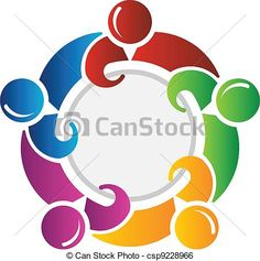 Vector - Team around circle - stock illustration, royalty free illustrations, stock clip art icon, stock clipart icons, logo, line art, EPS picture, pictures, graphic, graphics, drawing, drawings, vector image, artwork, EPS vector art