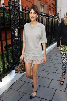 Alexa Chung always manages to mix and match unexpected pieces flawlessly