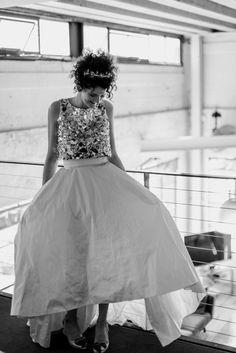 House of Ollichon loves. Two-piece wedding dress with gold sequin crop top. Two Piece Wedding Dress, Wedding Skirt, Bridal Skirts, Sequin Crop Top, Bridal Separates, Alternative Wedding Dresses, Melbourne Wedding, Ball Gowns, Wedding Day
