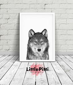 Wolf print, forest animals, nursery animal print, black and white wolf, grey print, grey wolf, downloadable print, baby wolf print, wolf art