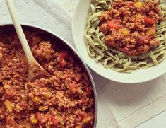 Sauce bolognaise végétalienne aux poivrons
